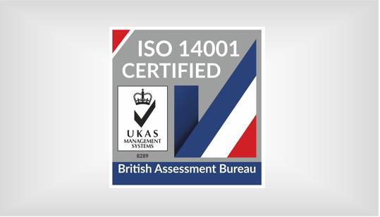 ISO 14001 UKAS 2020 certified