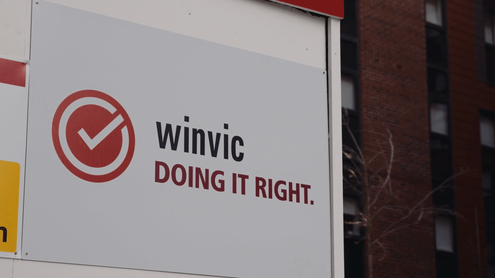 Winvic Doing It Right Health and Safety Logo on site
