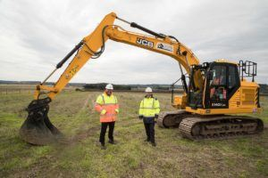 Rob Cook, Civils & Infrastructure Director, Winvic (left) with Rob Hepwood, Land and Planning Director, Clowes Developments at the Fairham site in Nottingham
